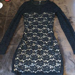 Black sheer and tan dress